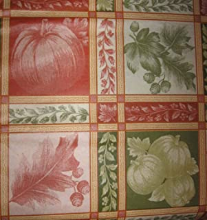 Pumpkins Fall Leaves Autumn Acorns Vinyl Tablecloth with Flannel Back (52 Inch Square)