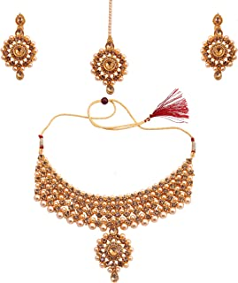 Glorious Pearl Wedding Gold Plated Jewellery Necklace Set For Women