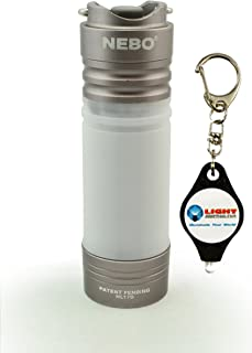 NEBO Mini Keychain LED Flashlight Poplite Magnetic Base Bundle with Lightjunction Keychain Light (Silver)