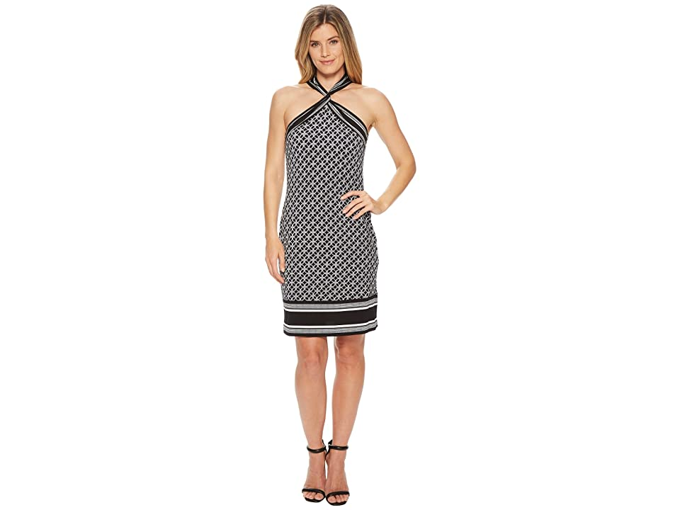 MICHAEL Michael Kors Rope Twist Neck Border Dress (Black/White) Women