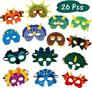 26 Pack Dinosaur Party Masks Masquerade and Halloween Dinosaur Face Mask Foam Felt Dinosaur Mask for Kids Birthday Themed Party Supplies Favors Decorations (14 Styles)