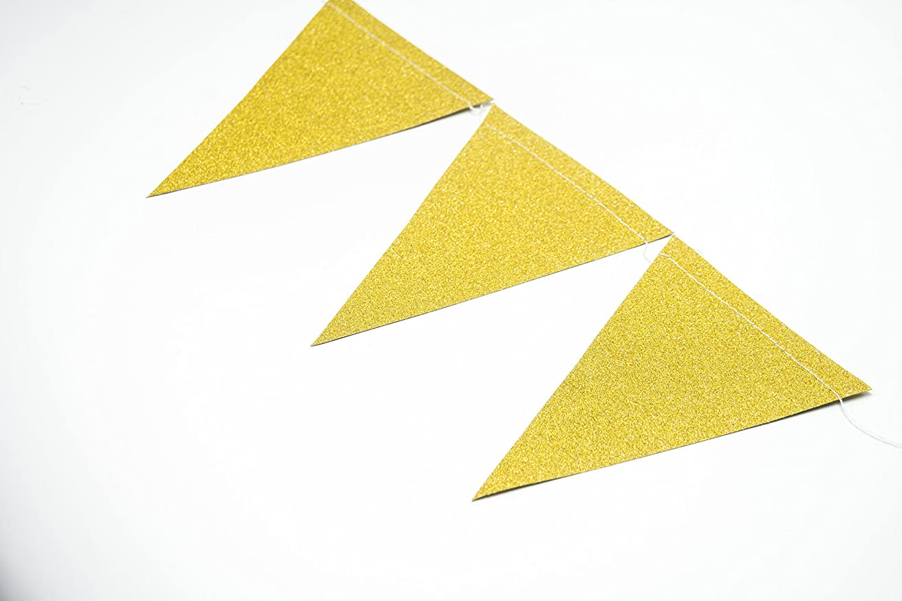 ALL in ONE 10ft Vintage Style Hanging Triangle Flag Bunting Banner for Wedding Birthday Baby Shower Party Holiday Event Home Decoration (Glitter Gold)