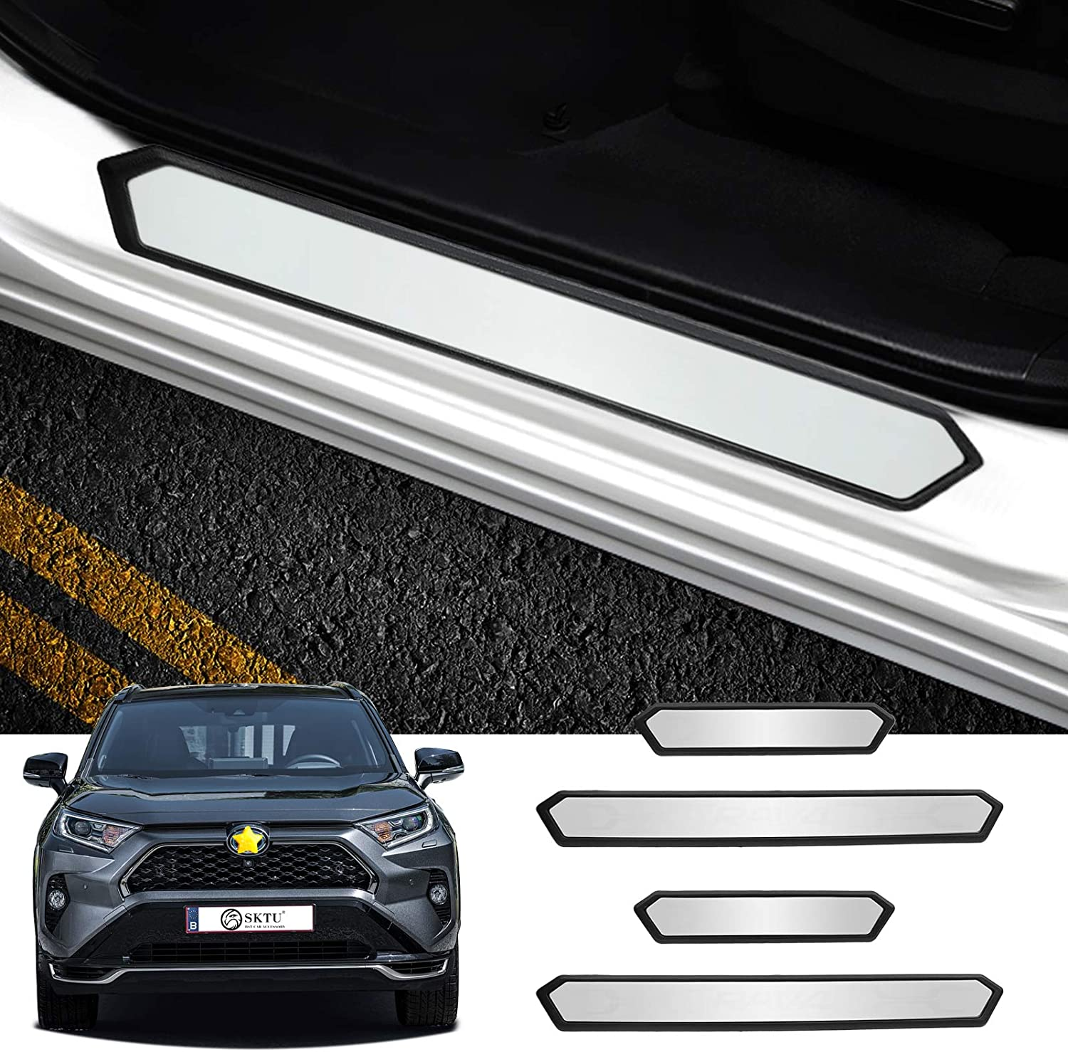 4PCS Door Sill 55% Louisville-Jefferson County Mall OFF Protector for Guard Toyota Entry 2021 Venza