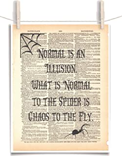 Chas Addams Quote Normal is an Illusion 8.5 x 11 Vintage Dictionary Page Unframed Art Print
