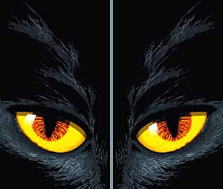 "Window Poster Halloween Yellow Cat Eyes by WOWindows USA-made Decoration Includes 2 Reusable 34.5""x60"