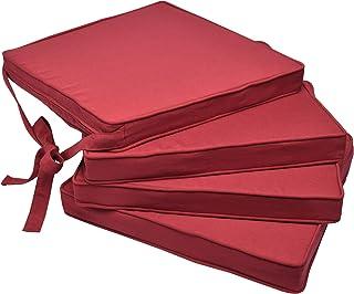 Beautissu Set de 4 Cojines para sillas Loft SK - Juego de Cojines cómodos para Asientos 45x40x5 cm Rojo - Cojines Elegantes y Modernos