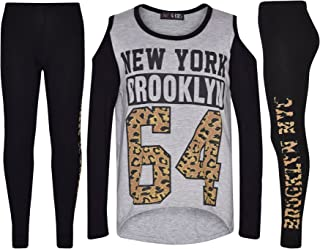 Girls Tops Kids New York Brooklyn 64 Print T Shirt Top & Legging Set 7-13 Years