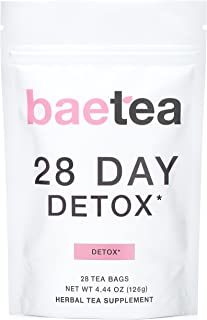 Baetea 28-Day Teatox Gentle Herbal Detox Tea with Green Tea & Ginger Root, 28 Tea Bags