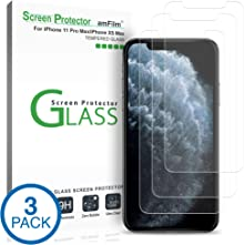 """amFilm Glass Screen Protector for iPhone 11 Pro Max/iPhone Xs Max (6.5"""" Display) (3 Pack) with Easy Installation Tray"""