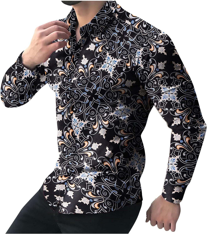 Moxiu Men's Slim Fit Floral Shirts Print Dress Shirt Long Sleeve Casual Button Down Shirts Blouse Tops