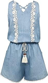 Smukke, Big Girls Vintage Lace Trimmed Romper with Pockets (Many Options), 7-16