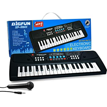BACKGAMMON® Piano Keyboard Having 37 Key and Microphone Toy for Kids with DC Power & Option Mobile Charger Power Option and Recording - Latest Edition