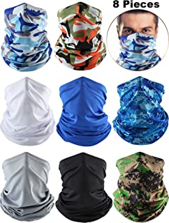 Summer UV Protection Neck Gaiter Scarf Balaclava Breathable Face Cover Scarf (Black, Grey, White, Blue, Camo Blue/Green, Orange/Blue-Silver Camo, 8)