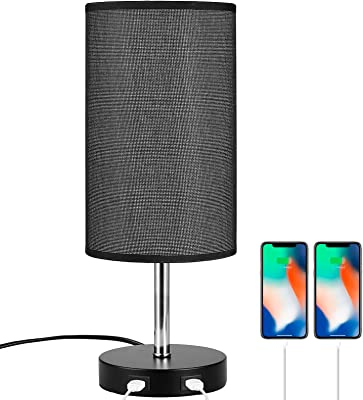 Table Lamp E27 6W Touch Control Bedside Lamp Desk Lamp Dimmable Table Lamp with Black Fabric Shade 2 Fast Charging USB Ports for Bedroom Living Room