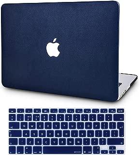 KECC MacBook Air 13 Pulgadas Funda Dura Case w/EU Cubierta Teclado MacBook Air 13.3 Ultra Delgado Cuero {A1466/A1369} (Azul Leather)