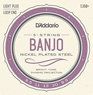 D'Addario EJ60+ Nickel 5-String Banjo Strings, Light Plus, 9.5-20