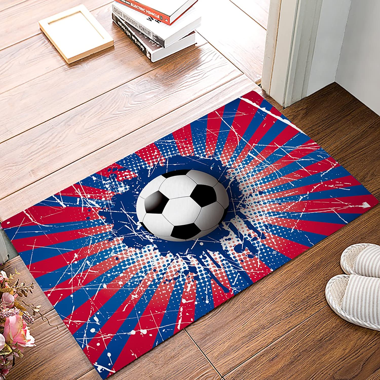 Findamy Non-Slip Indoor Door Mat Entrance Rug Rectangle Absorbent Moisture Floor Carpet for color Splash Soccer World Cup Football Championship Doormat 20x32 inch