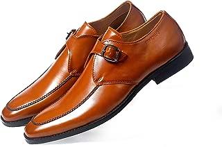 NICHE Men's Formal Casual Single Strap Dark Tan Monk Shoes