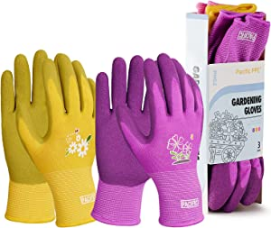 PACIFIC PPE 3 Pairs Gardening Gloves for women, Latex Coated Garden Gloves, Breathable, Medium Size fits Most, Purple, Yellow, Red