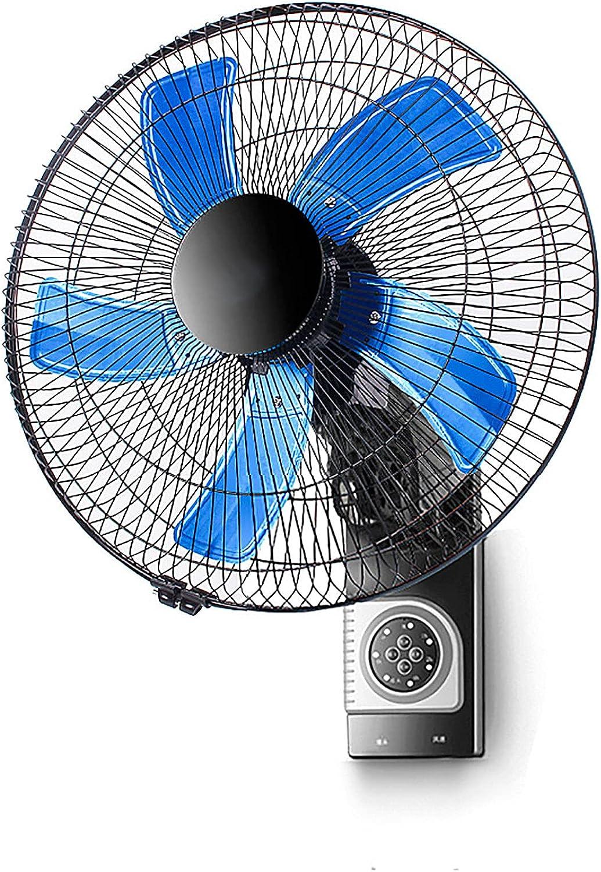 YYDS Ventilador De Pared con Control Remoto, Ventilador Silencioso Oscilante Montado En La Pared, Control Remoto De 16 Pulgadas Y 3 Velocidades para Interiores, Exteriores, Negro, Aspa Azul