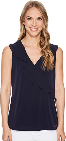 Sleeveless Top w/ Chiffon Ruffle Top