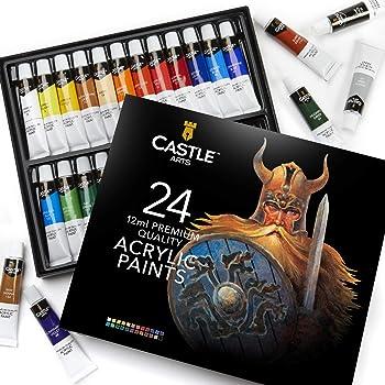 Castle Art Supplies Acrylic Paint Set for Beginners, Students or Artists, 12 ml Tube, Set of 24 Vivid Unique Colors