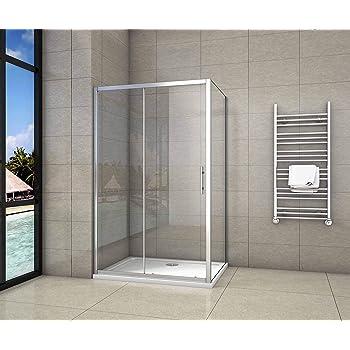 Cabina de Ducha Rectangular Puerta Corredera Cristal Templado 5 MM 120x80x190cm: Amazon.es: Bricolaje y herramientas