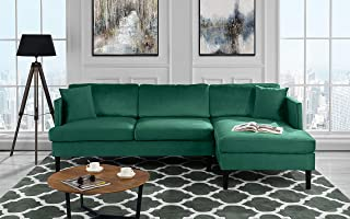 Velvet Green Sofas Couches Furniture Home Kitchen Amazon Com