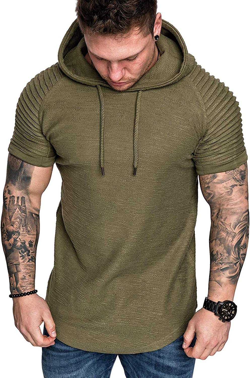 Men's Casual Hooded T-Shirts - Fashion Short Sleeve Solid Color Pullover Top Summer Blouse