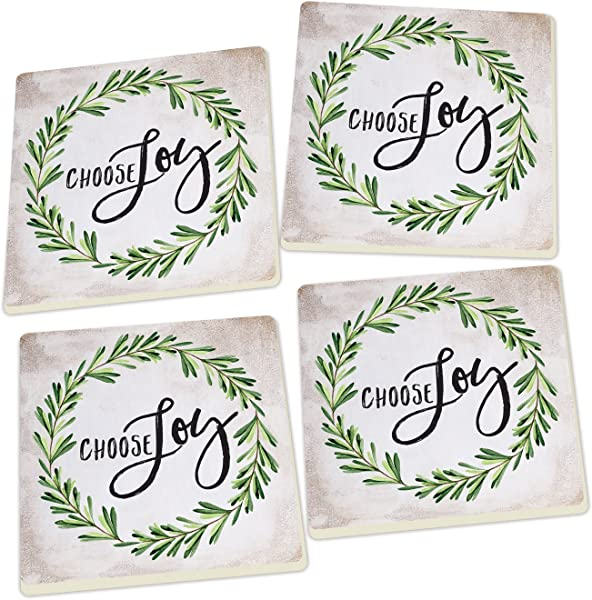 P Graham Dunn Choose Joy Laurel Wreath Script Design Set Of 4 Ceramic Coaster Pack