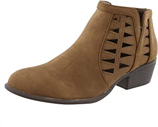TOP Moda Women's Western Geometric Cut Out Chunky Stacked Low Heel Ankle Bootie (7 B(M) US, Brown)