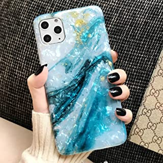 iPhone 11 Pro Max Case Marble Cute Girls Women [Tinfoil] Pearly Glitter TPU Silicone Case Protective Phone Case for iPhone 11 Pro Max 6.5 Inch (Blue White)
