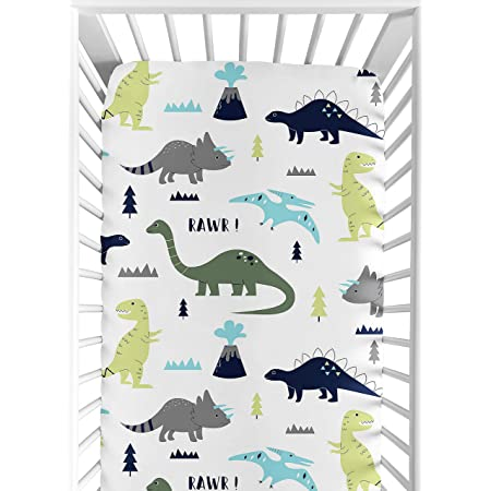 Sweet Jojo Designs Musical Baby Crib Mobile for Blue and Green Modern Dinosaur Girls or Boys Bedding Collection