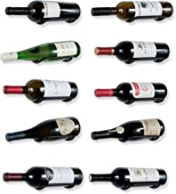 Rustic State Wall Mount Custom Design Iron Wine Bottle Holder Rack by for All Adult Beverages or Liquor Set of 10 Black