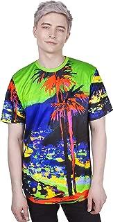 Ultraviolet Fluorescent Handmade Art Neon Blacklight Reactive Print T-Shirt