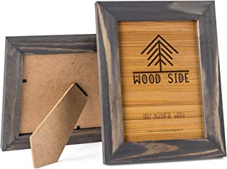 Rustic Wooden Picture Frames 4x6 - Set of 2-100% Natural Eco Solid Wood and High Definition Real Glass for Tabletop and Wall Mounting Photo Frame- Grey