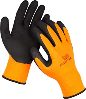 ACKTRA Wholesale Pack of 120 Pairs Premium Coated Nylon Safety WORK GLOVES, Knit Wrist Cuff, for Gardening and General Purpose, for Men & Women, WG009 Orange Polyester, Black Latex, Large