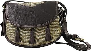 Wild Scottish Deerskin Designer Leather Authentic Green Herringbone Harris Tweed Sporran Cartridge Bag