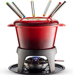 Klee 12-Piece Cast Iron Fondue Set with Red Fondue Pot, 6 Fondue Forks, Fondue Burner and Fondue Pot Base, 44 oz