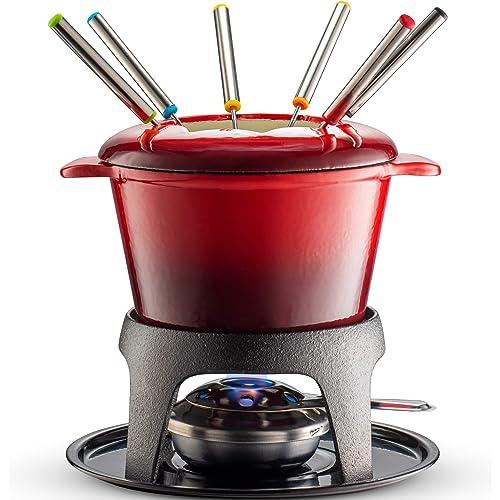 Klee 12-Piece Cast Iron Fondue Set with Red Fondue Pot, 6 Fondue Forks, Fondue Burner and Fondue Pot Base, 44 oz