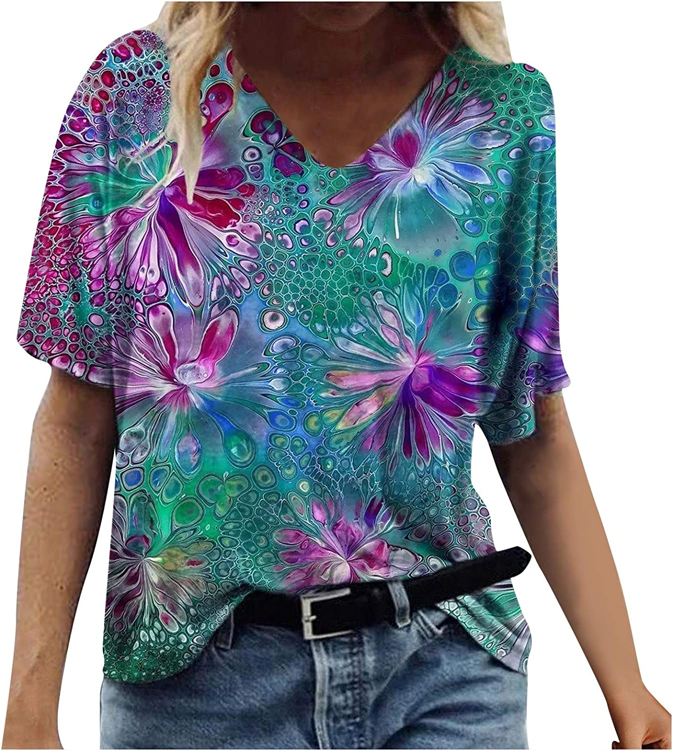 SALIFUN Tshirts for Womens, Womens Summer T-Shirts Flower Abstract Vintage Print Casual V-Neck Blouse Tops Tunics Graphic Tee