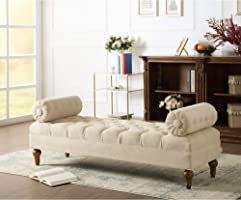 BLACK OAK Lewis Bolstered Lounge Entryway Bench Three Seater Sofa diwan Couch Lounger Lounge diwan Settee for Living...