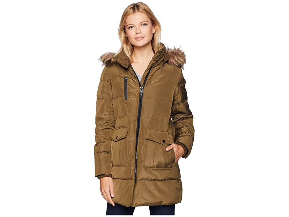 Marc New York by Andrew Marc Astoria Down Filled Anorak with Faux Fur Trim Hood Patch Pockets (Grove) Women