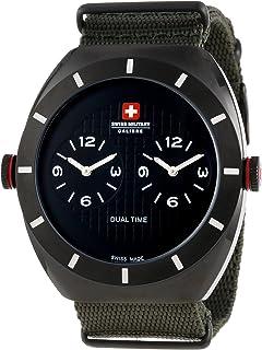 Swiss Military Calibre Men's 06-4C1-13-007T6 Commando Dual Time Zone Luminous Khaki Green Watch