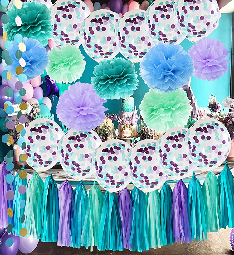 Under The Sea Party Supplies/Mermaid Party Decorations Teal Purple Blue Mint Tissue Pom Poms First Birthday Decorations Baby Shower Decorations Mermaid Party Supplies/Mermaid Bridal Shower Decor