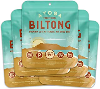 Ayoba Biltong - Grass Fed, Keto and Paleo Certified Air-Dried Beef Snack - Better Than Jerky Tender Steak Cuts - Whole 30 Approved, No Sugar, Gluten Free, No Nitrates (5 Pack, Convenient 1 Ounce Bags)