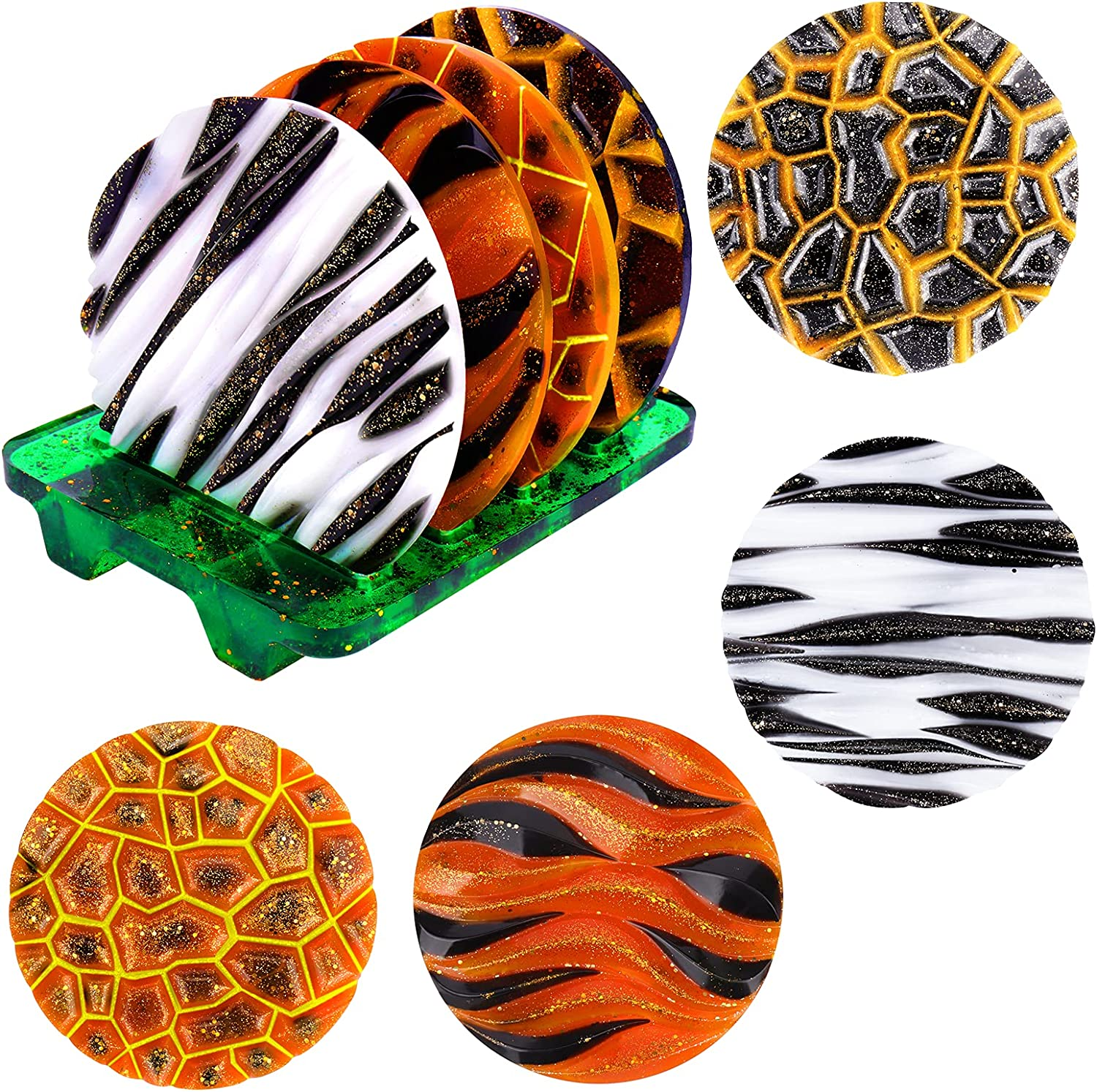 BUSOHA Coaster Resin Molds Selling and selling Texture Animal safety wit 4Pcs