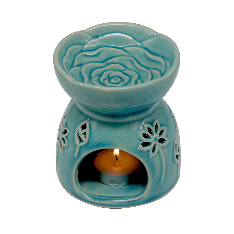 DELIWAY Ceramic Tea Light Holder/Wax Melt Warmer, Great Essential Oil Burner Aromatherapy Diffuser for Living Room, Balcony, Spa Yaga Meditation (Blue, 80ML)