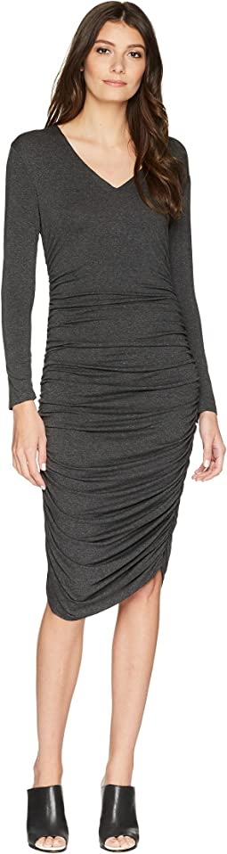 KAMALIKULTURE by Norma Kamali - Long Sleeve V-Neck Shirred Dress