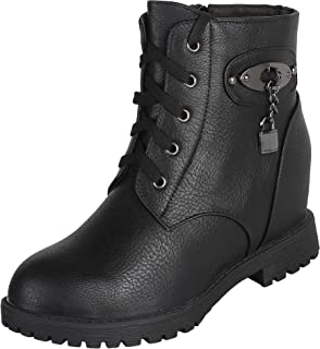 AUTHENTIC VOGUE Women's Swanky Look Ankle- Length Leather Boot- Black Colour (3 Inch Hidden Wedge Heel)